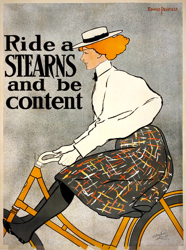 Ride a Stearns and be content, bicycle advertising poster, 1896
