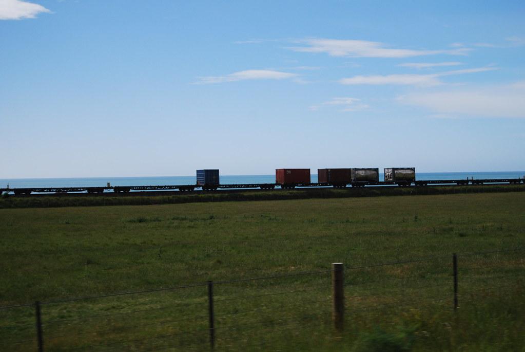 New Zealand - Kaikoura Coast - Freight Train - car window by Insta: @ablekay47