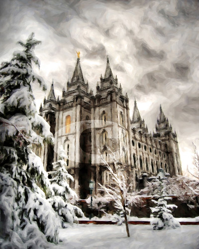 Wallpaper Maker on On Black  Salt Lake City Lds Temple Winter Digital Painting Print By
