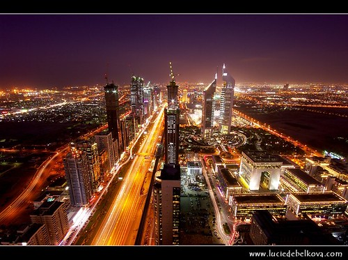 UAE - Veins of Dubai from 68th floor - Sheikh Zayed Road & Emirates Towers