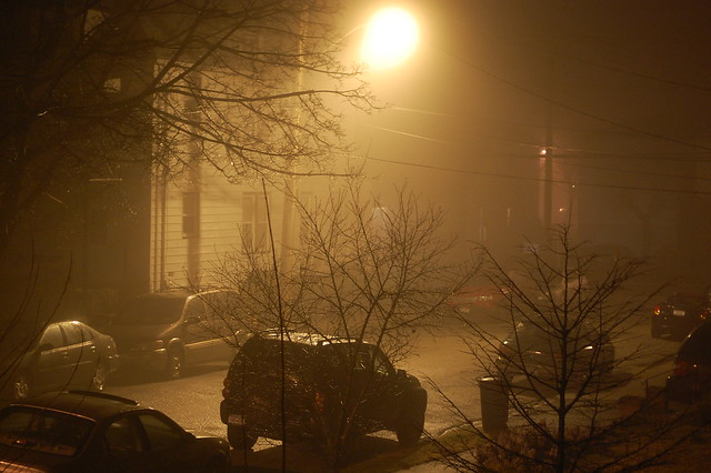foggy, rainy night in Yonkers, New York