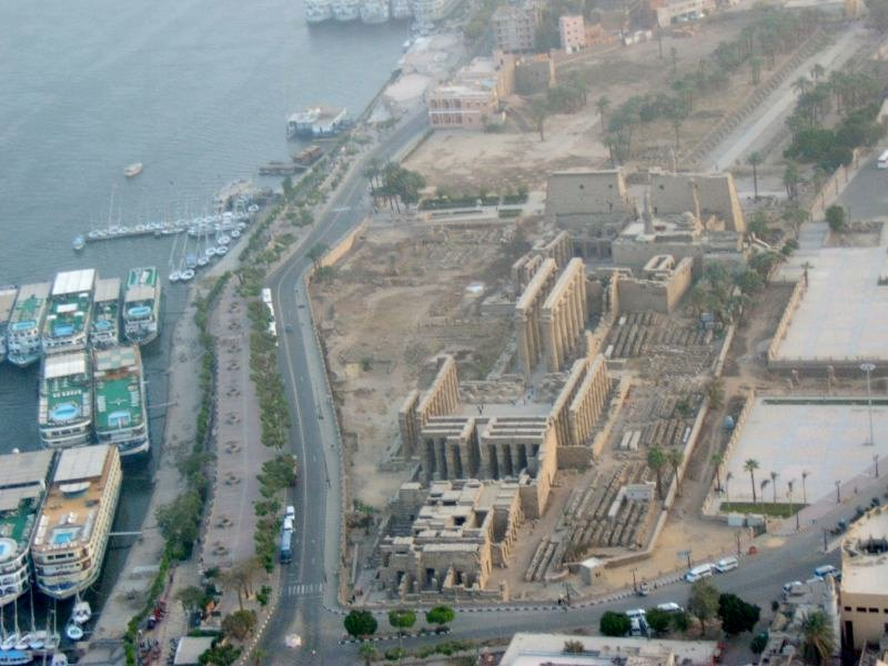 Luxor Egypt Feb 07 aerial view of Luxor Temple