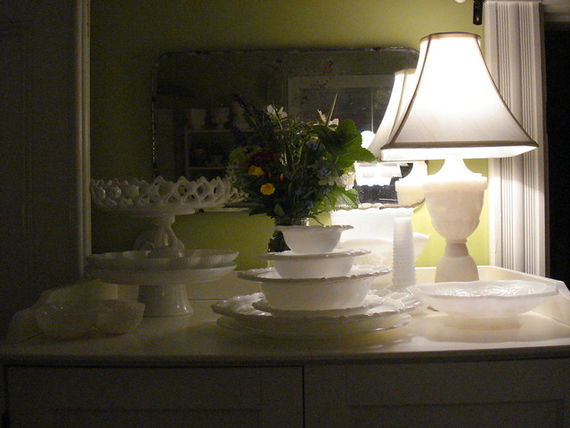 milk glass and summer flowers