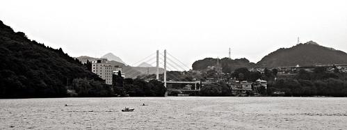 bridge mountain lake japan boat kanagawa sagamiko
