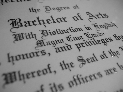 Close up of college diploma.
