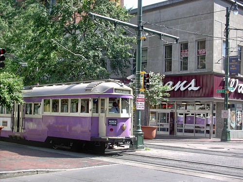 Purple Australian streetcar heading south on Main Street at the intersection of Madison Avenue. Memphis Tennesee. September 2007. by Eddie from Chicago