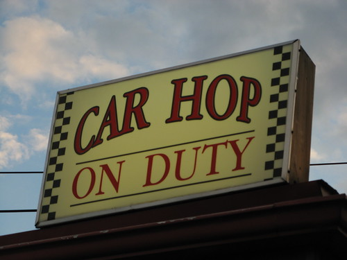 sunset ohio sky ontario car sign clouds duty wires oh hop carhop mansfield onduty