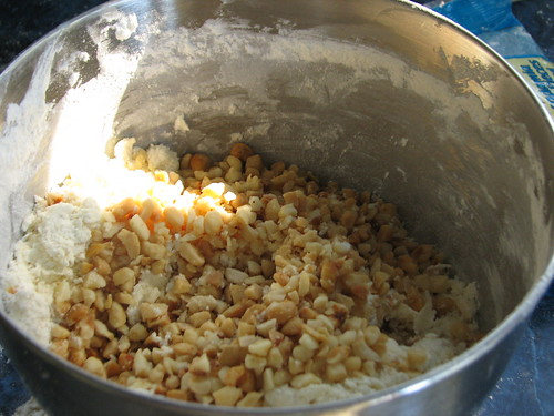 mixing in the hazelnuts