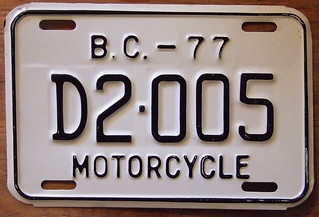BRITISH COLUMBIA 1977 MOTORCYCLE DEALER plate
