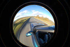 window, vehicle, space, light, fisheye lens, glass, close-up, circle, blue,