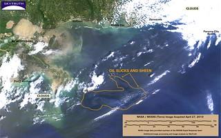 Deepwater Horizon Oil Spill – MODIS/Terra Detail (with interpretation), April 27, 2010
