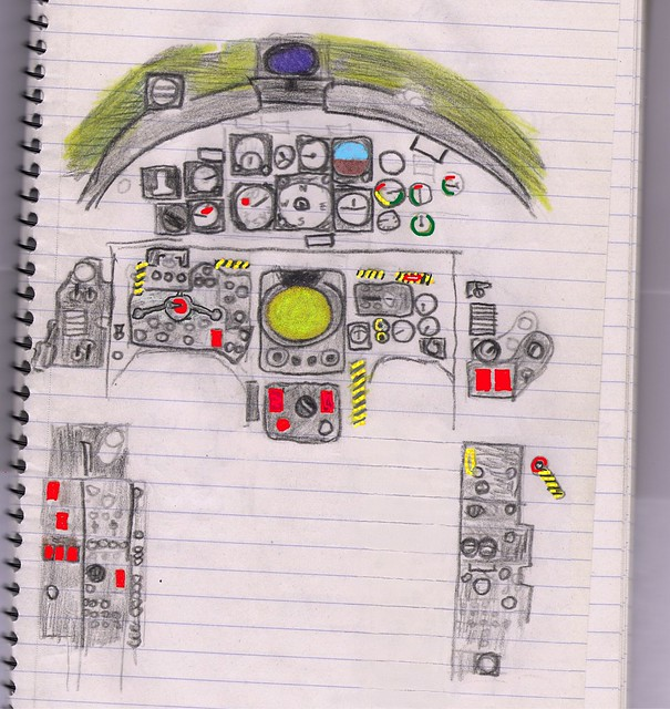 Cartoon of F-104G cockpit - NOT to scale!