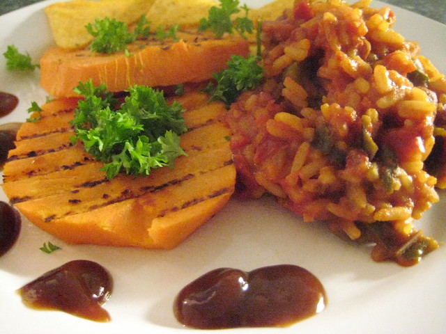 rice & beans with grilled sweet potato