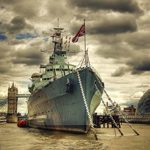 HMS Belfast, with Tower Bridge and City Hall in the background