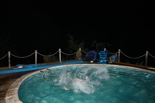 Diving in the pool