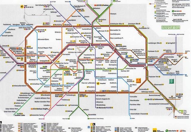 Berlin s Bahn u Bahn Netz Berlin U-bahn S-bahn Map