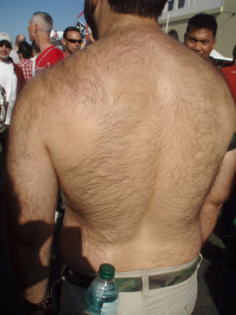 HAIRY BEAR BACK ! FOLSOM STREET FAIR 2008 ! ( safe photo )