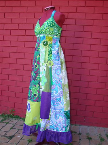 Greens and purples Pixie goddess dress