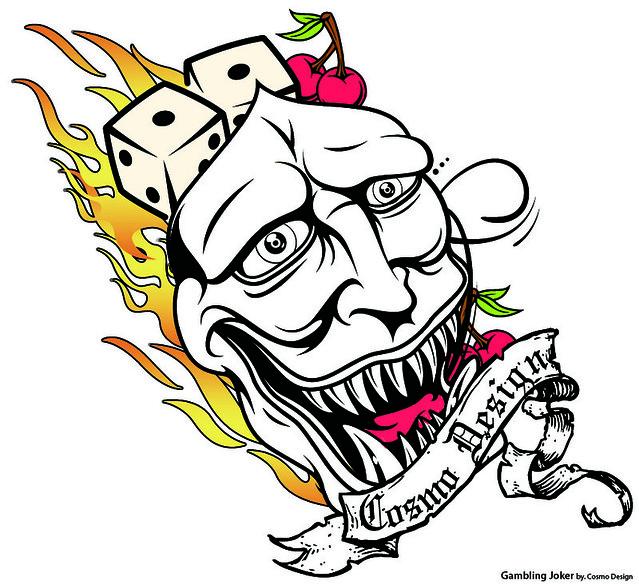 Gambling Joker tattoo design