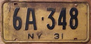 NEW YORK 1931 LICENSE PLATE
