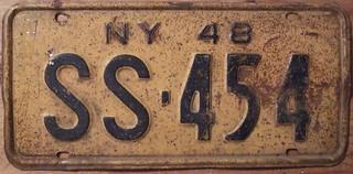 NEW YORK 1948 LICENSE PLATE