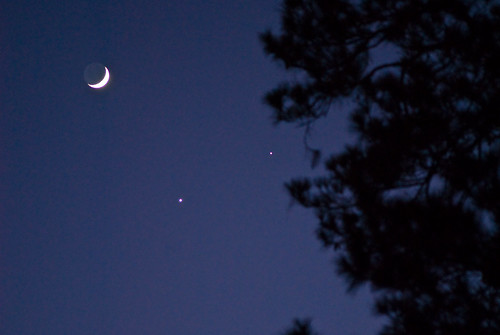 celestial conjunction: waxing crescent moon, Venus, Jupiter