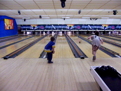 Aidan's first bowling experience video clip.
