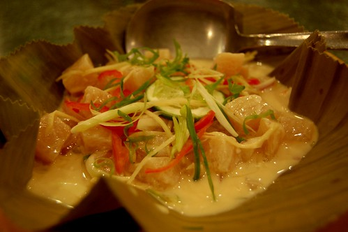 Kinilaw na Isda (Raw Grouper) in hot coconut milk