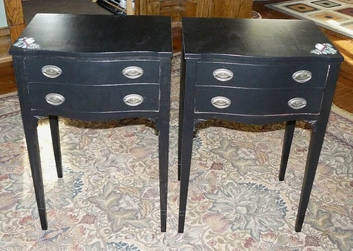 Vintage End Tables with Chickadee