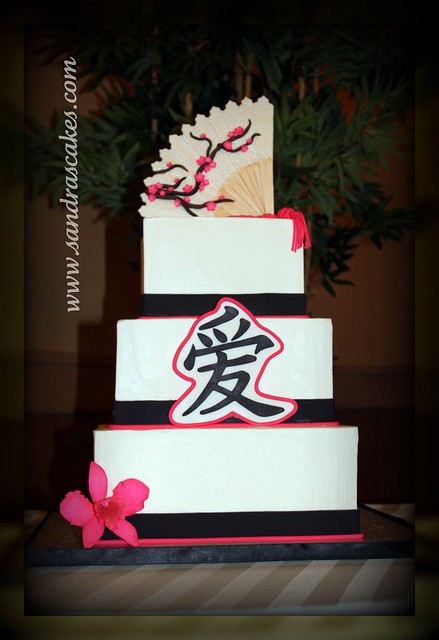 Oriental themed wedding cake