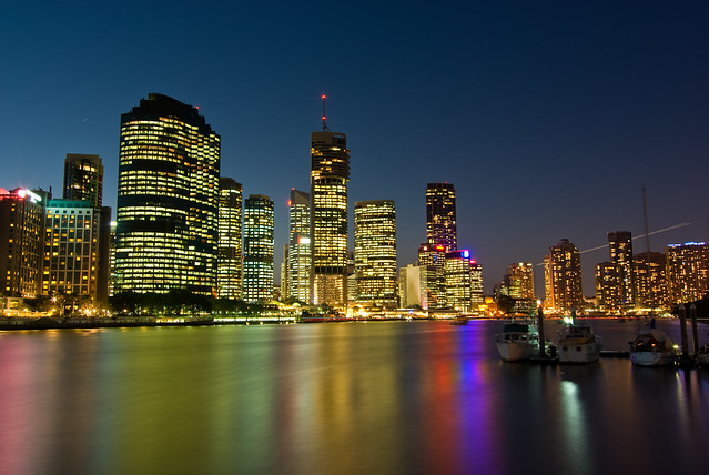 Brisbane City Skyline At Sunset from Kangaroo Point