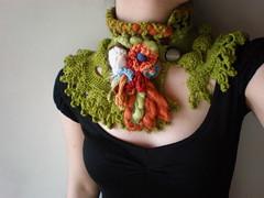 Asteraceae ... Knitted Neckwarmer / Scarflette - Chartreuse Green