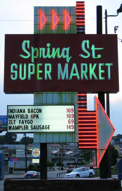 Spring St. Super Market neon sign