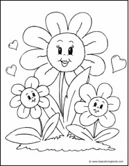 Flower Family - Coloring Page