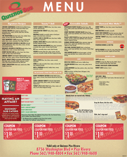 The Quiznos menu is extensive, but the same can not be said for the Quiznos secret menu. Unlike the Subway secret menu and the Jimmy John's secret menu, which both offer a number of extra choices and extra ways you can order, the Quiznos secret menu doesn't have much to offer. We have talked with servers and managers and we have asked countless customers.