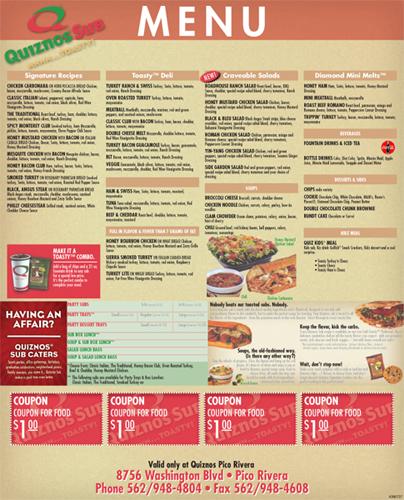 Quiznos menu flickr photo sharing