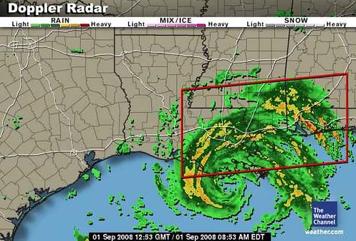 weather channel gustav radar image