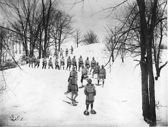 Snowshoeing Indian file, Mount Royal, Montreal, QC, 1879