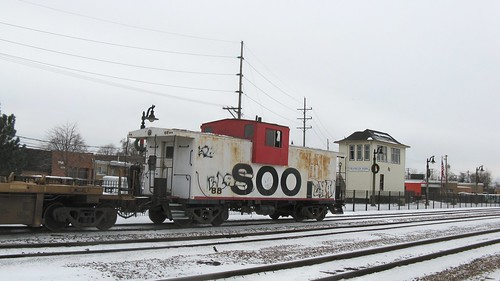 Lightly grafitti tagged former Soo Line wide vision caboose. Franklin Park Illinois. December 2008. by Eddie from Chicago