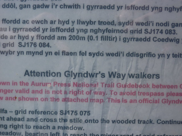 Attention Glyndwr's Way walkers