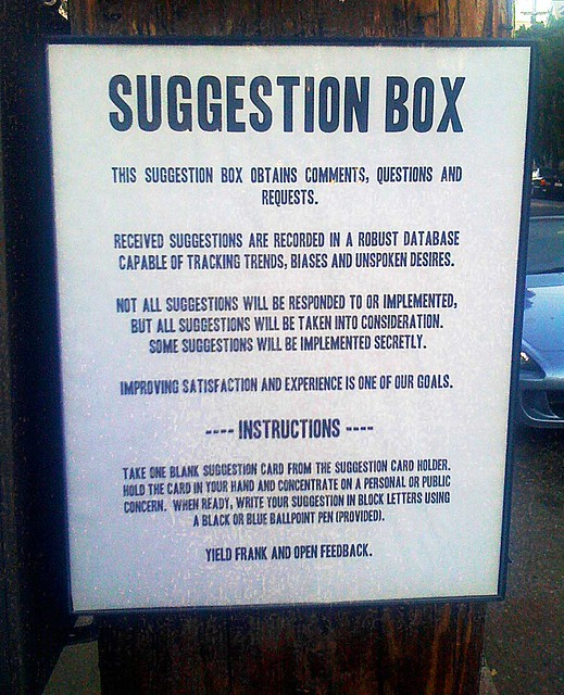 Suggestion Box 2 Public Suggestion Box On Waller At