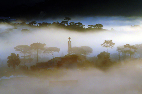 early fog in a small village by bluefam