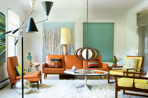 mid century living room in new york spaces magazine