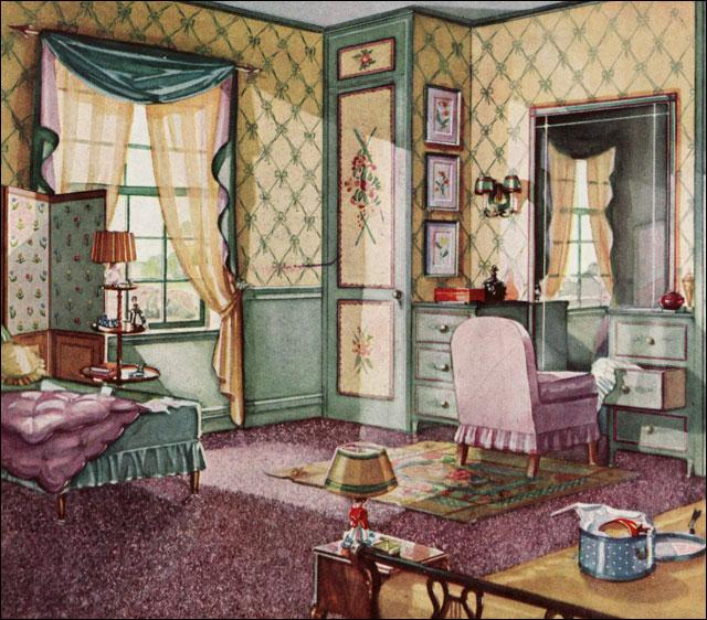 1930 bedroom armstrong linoleum flickr photo sharing for Garden design 1930