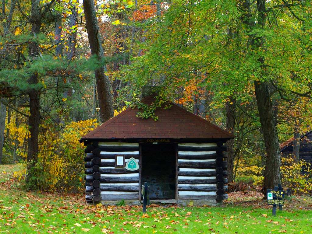 Appalachian Trail shelter made of logs