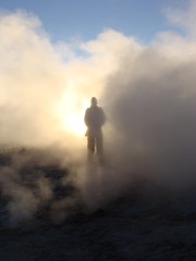 Randy at the geysers at sunrise