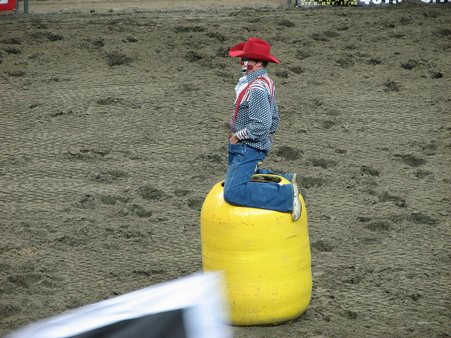 Rodeo Clown Siting On His Barrel Flickr Photo Sharing