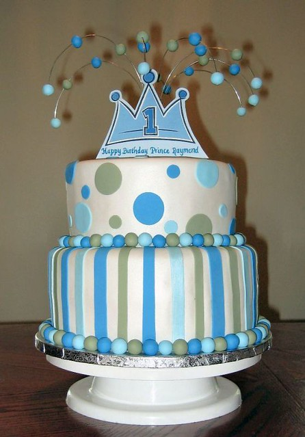 Baby Boys First Birthday - Prince Theme  This cake was don ...