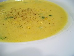 produce(0.0), tarhana(1.0), corn chowder(1.0), bisque(1.0), food(1.0), leek soup(1.0), dish(1.0), soup(1.0), cuisine(1.0),