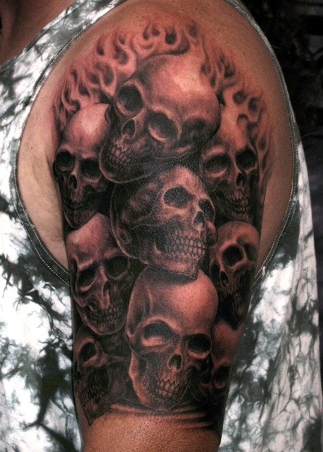 Pile Of Skulls Tattoo Black And Gray Tattoo By Matthew Ame Flickr
